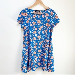 Lulu's blue & peach mini dress M